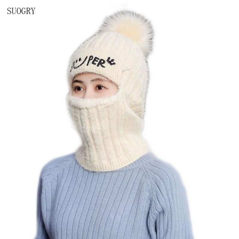 Women's Hats Wool Balaclava Face Mask Hats Women Beanie Dual-use Hat Ear Protectors Knit Hats Winter Scarf Suits Thickening