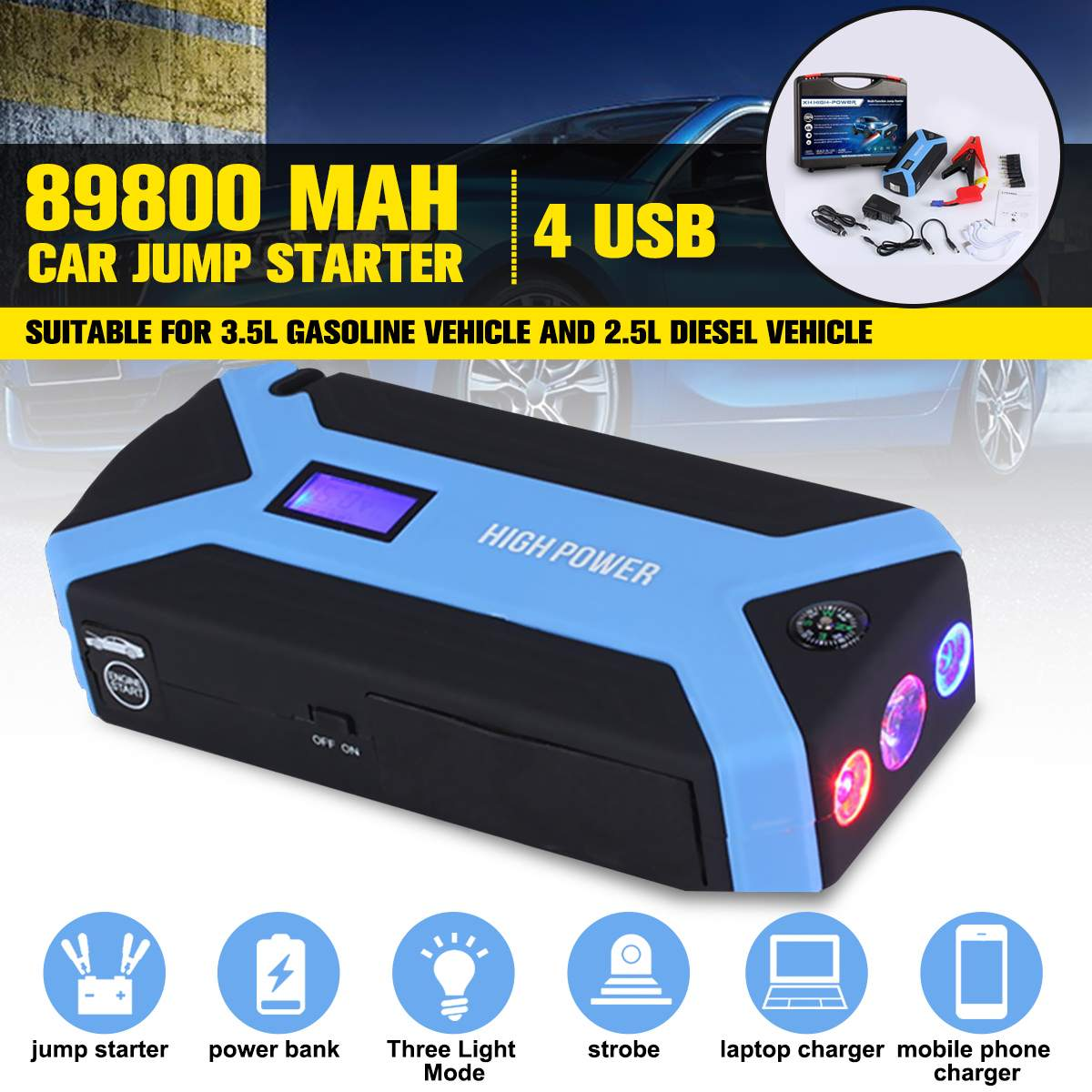Portable Auto Car Jump Starter 4 USB Power Bank Battery Charger Booster USA