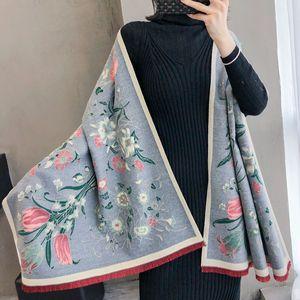 Image 3 - Bufanda cálida para invierno gruesa para mujer, chales de Cachemira, Pashmina con estampado Floral elegante para mujer, pañuelos de Foulard, diseño 2020