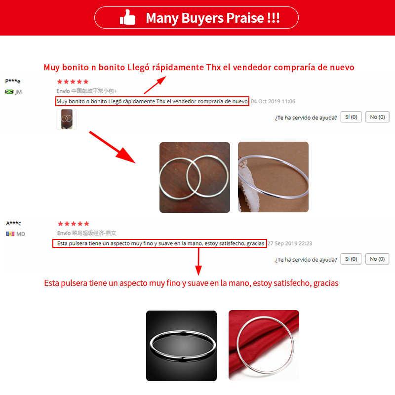 DOTEFFIL 925 Sterling solide argent Bracelet mode personnalité Simple lisse bracelets pour les femmes mariage fiançailles bijoux