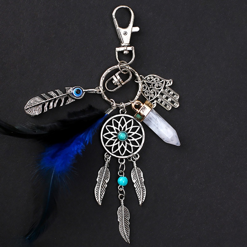Handmade Craft Dream Net Catcher Keychain Feather Tassel Jewelry Keyholder Dreamnet Pendant Car Wall Hanging Decoration