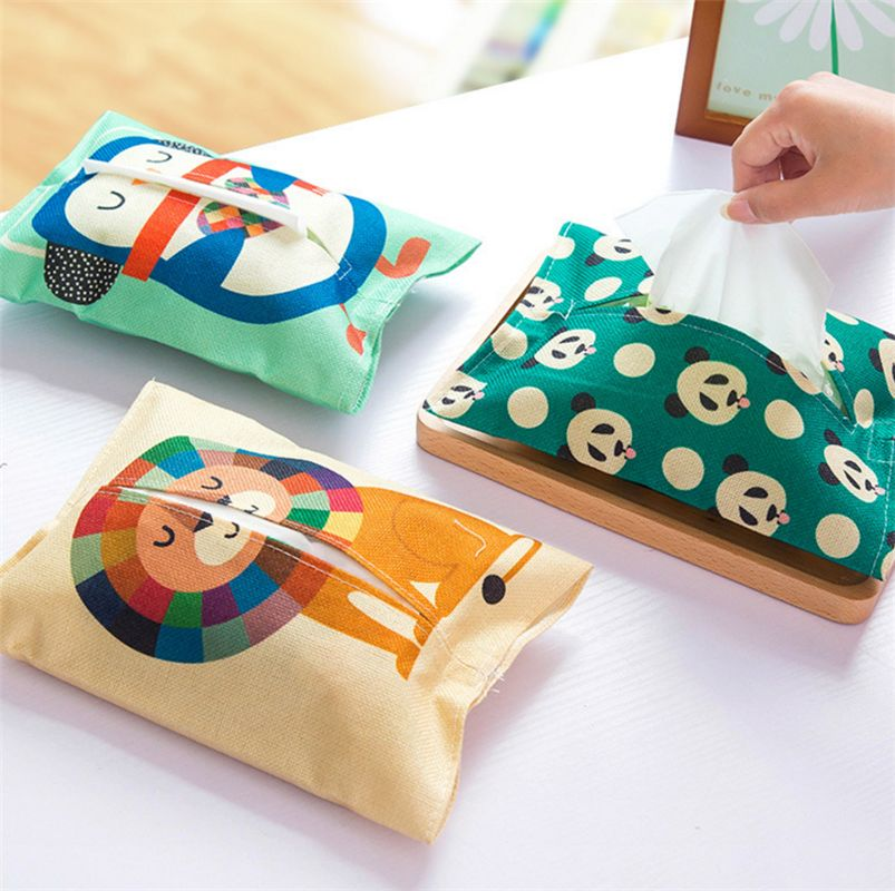 Home Car Fabrics Cartoon Animal Tissue Case Box Container Towel Napkin Papers Bag Holder Box Case Pouch Styles of Tissue Bags