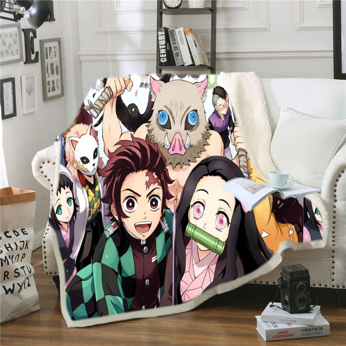 Devil's Blade Anime Home Textile Demon Slayer Kimetsu No Yaiba Kamado Tanjirou Nezuko Double Plush Lamb Down Blanket Bedding