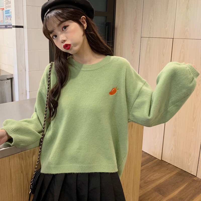 2020 Women's Sweater Autumn Winter Sweet Fruit Embroidery O-Neck Knitted Sweater Slim Pullover Jacquard Pull