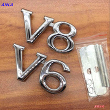 Metal 3D V6 Engine Displacement Car grill sticker Badge V8 Emblem Stickers Auto Decal chrome car Styling for Toyato Audi BMW VW 3d metal limited edition auto car sticker badge decal stickers chrome emblem for all car styling