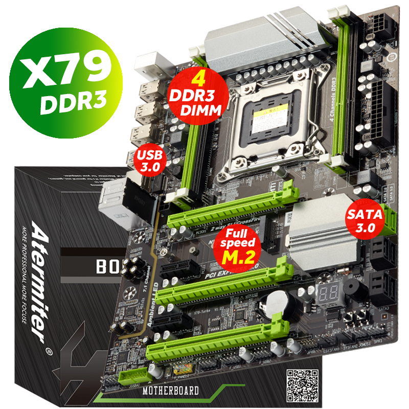 Atermiter X79 Turbo motherboard  LGA2011 ATX USB3.0 SATA3 PCI E NVME M.2 SSD support REG ECC memory and Xeon E5 processor 2011|Motherboards|   - AliExpress
