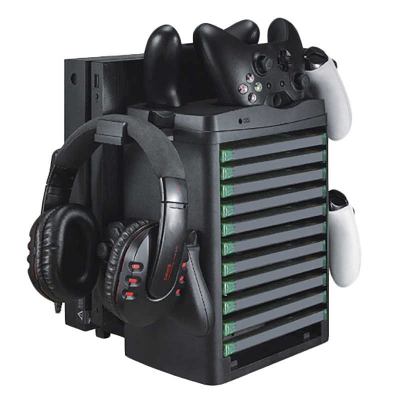 Xbox one/x/slim vr 디스플레이 캐비닛 액세서리 슬림 & 프로 수직 냉각 팬 쿨러 컨트롤러 충전기 게임 보드 헤드셋