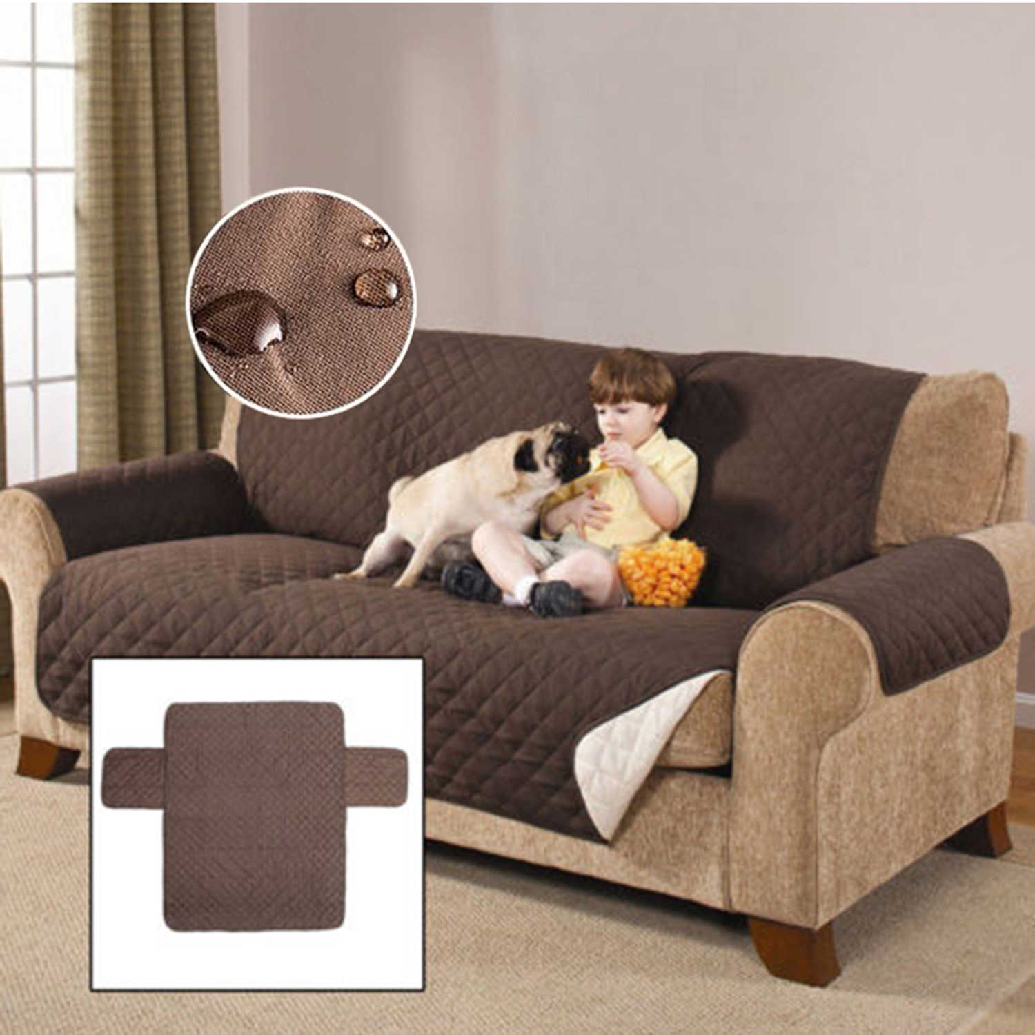 Sofa Couch Cover Chair Throw Pet Dog Kids Mat Furniture Warm Protector Cover Reversible Washable Removable Armrest Slipcovers