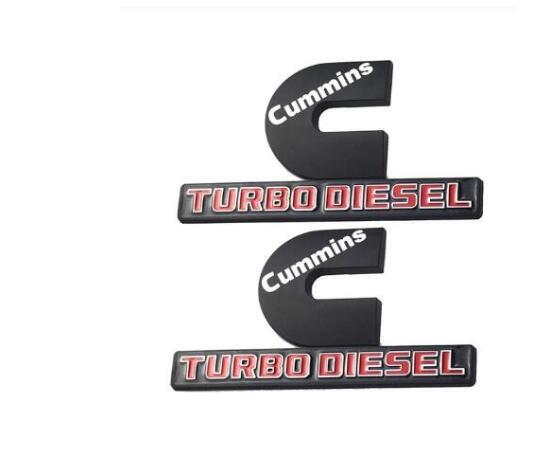 CHROME 12 VALVE DODGE RAM TURBO DIESEL EMBLEMS BADGES SET 2 NEW PAIR