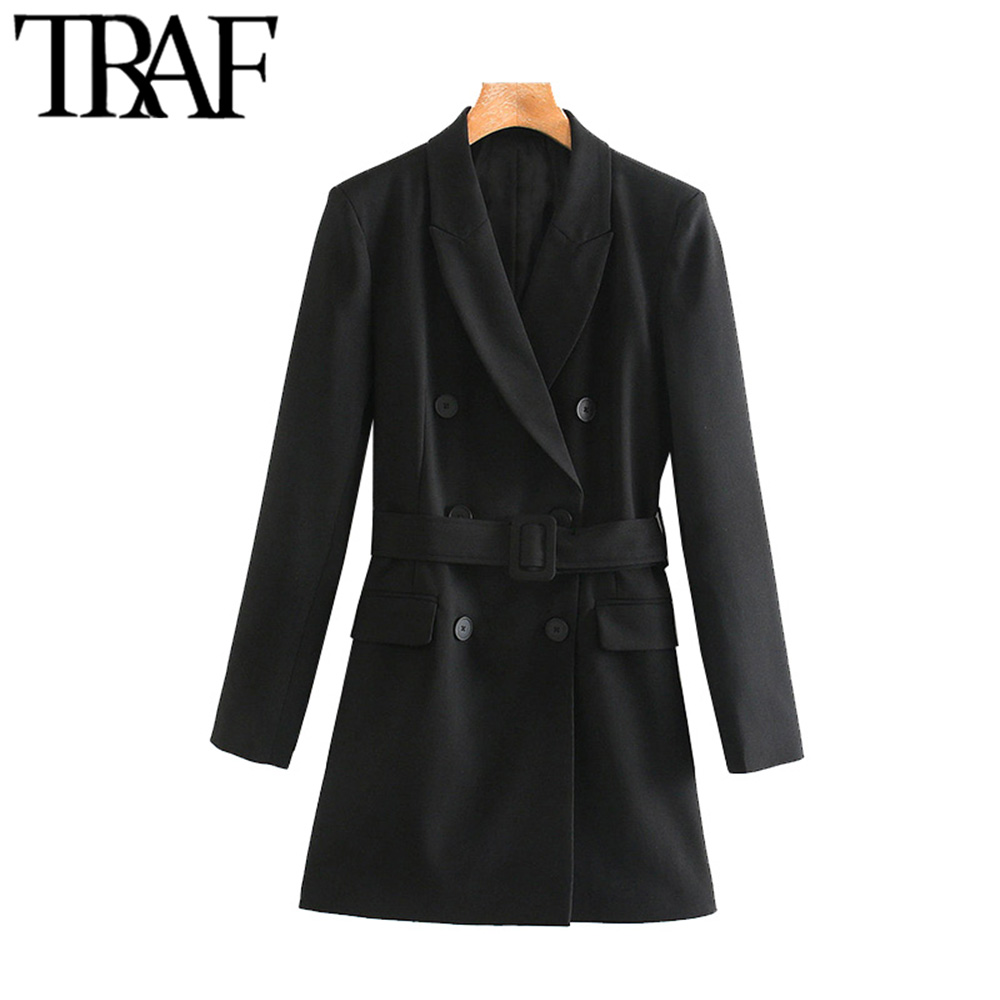 TRAF Women Vintage Stylish With Belt Double Breasted Blazers Coat Fashion Long Sleeve Office Wear Female Outerwear Chic Tops