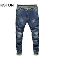 Blue Jeans Denim Pants Slim-Fit Stretch Trendy Trousers KSTUN Best-Quality Casual Autumn