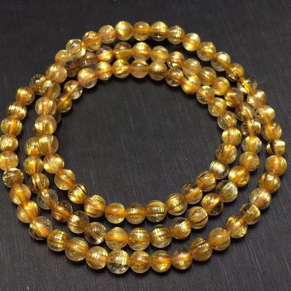 Certificate Natural Gold Rutilated Quartz Titanium Crystal Woman Bracelet 5mm Gemstone 3 Laps Round Beads Wealthy Stone AAAAA
