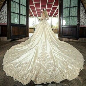 Image 2 - New Sheer Wedding Dresses Long Sleeves Lace Appliques 2019 Beaded Bridal Gowns Formal Garden Plus Size Robe De Marriage Custom