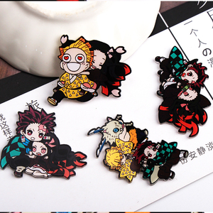 1PCS Kimetsu no Yaiba cartoon hero Badges for Clothing Acrylic Badges Kawaii Icons on The Backpack Pin Brooch Badge y10(China)