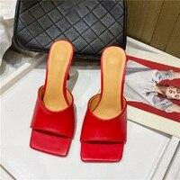 Eilyken 2020 nouveau été femmes Mules pantoufles élégant bout carré talons hauts pantoufles dames diapositives chaussures Femme Zapatos Mujer