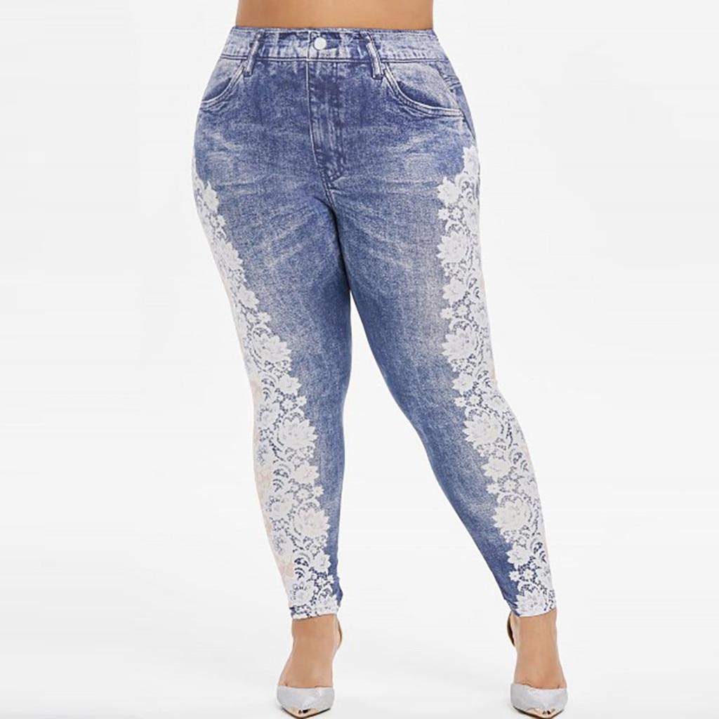 Hc74fe59194f54dfe852dca8a4bdb154eW Jaycosin New Fashion Ladies Casual Lmitation Cowboy Pocket Jeans Elastic Stretch Thin Female Soft Loose Leggings Pants 10#4