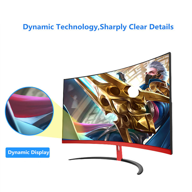 Wearson 1800R 32 inch Curved Wide Screen LCD Gaming Monitor Flexural Panel 2mm Side Bezel-Less HDMI VGA input Flicker Free