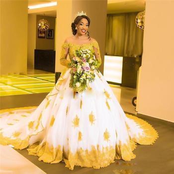 Afrykańskie suknie ślubne Plus Size Off The Shoulder złote aplikacje koronkowe suknie ślubne suknie ślubne długie rękawy długie suknie ślubne tanie i dobre opinie LOVEYING Dekolt w łódkę Pełne Z tiulu siateczki Tren zamiatający CN (pochodzenie) Zwisające do podłogi zipper REGULAR