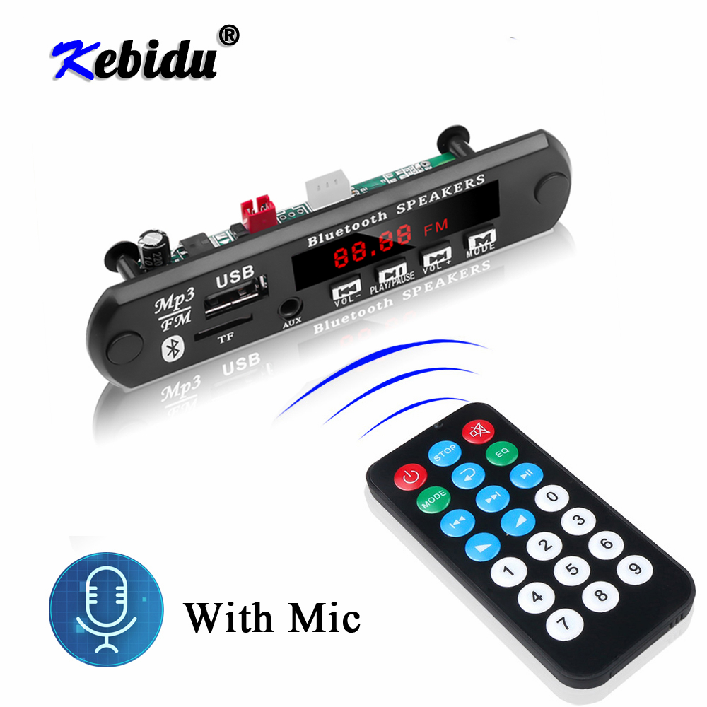 Kebidu Bluetooth Handfree Car Kit MP3 Player Decoder Board FM Radio TF USB 3.5 Mm AUX Audio For Car For Iphone Android Phone(China)