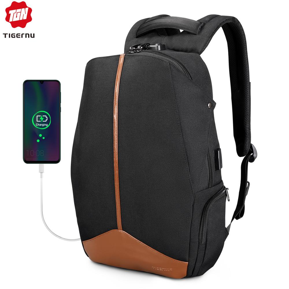 Tigernu Anti Theft Patented Zipper TSA Lock No Key Design Men USB 15.6 inch Laptop Backpacks Schoolbag Student College Backpack