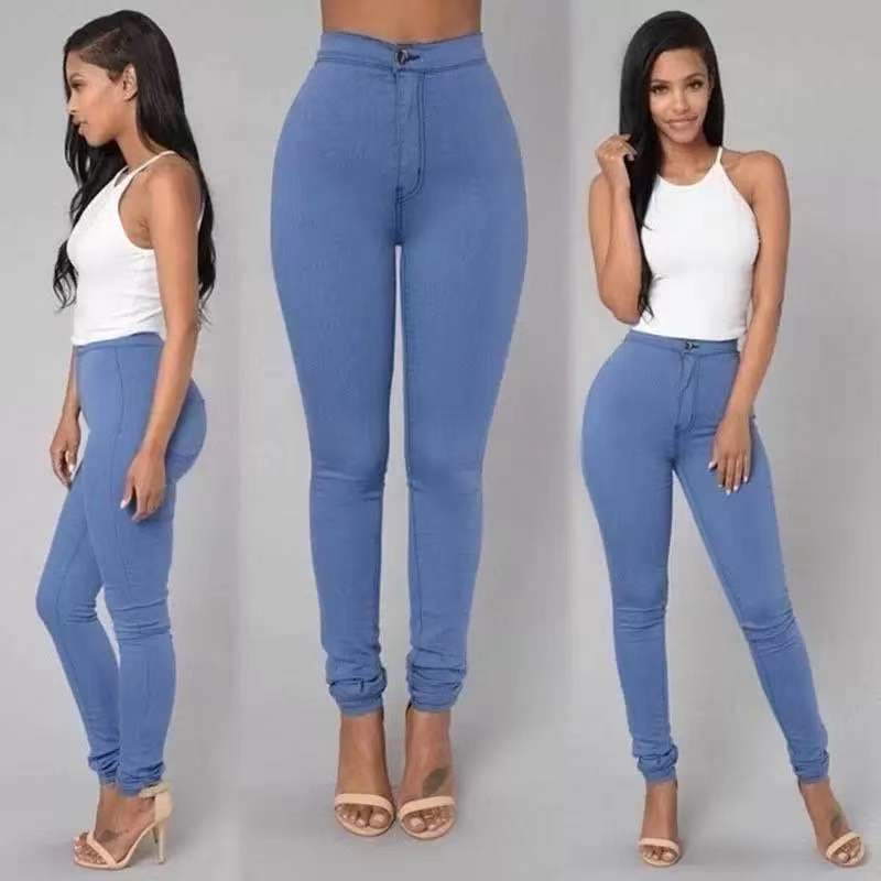 S-4XL High Waist Jean Women's Summer Autumn Stretch Straight Black Jeans Vintage Pants  Mom Slim Pencil Jeans High Quality 6