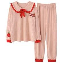 Осенне зимние женские свободные пижамы с длинными рукавами в
