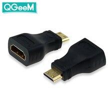 QGeeM MINI HDMI TYPE C MALE TO HDMI A FEMALE адаптер конвертер 1080 P 2K 4K для мини ПК HDTV HD камеры 5504
