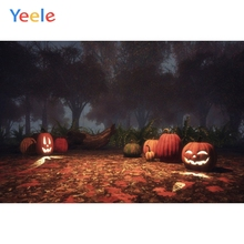 Yeele Photophone Halloween Backdrop Mysterious Forest Tree Pumpkin Lantern Photography Background For Photo Studio Photocall