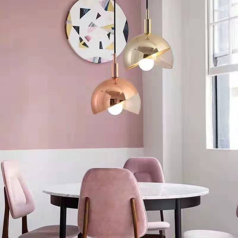 Nordic Creative Led One-headed Dining Room Chandelier Modern Lamp Living Room Bedroom Semi-circular Small Glass Ball Hanging