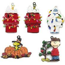 (לבחור עיצוב ראשון) 10 יח\שקית חג המולד הודיה דמויות סדרת מלא אמייל תליוני DIY שרשרת ביצוע