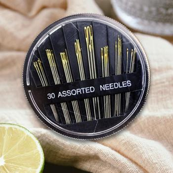 30pcs Blind Stainless Needles Gold Tail Sewing Needles Mixed Kit Packing Sewing Accessories For All Brand Domestic Sewing 12pcs blind multi size needles gold tail easy to go through from side hand sewing embroidery tool diy needlework sewing needles