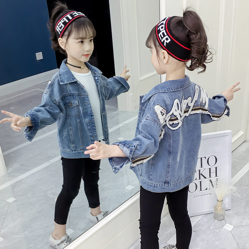 Denim Jacket for Girls Coats Embroidery Letters Children Cardigan Autumn Baby Girls Clothes Outerwear Jean Jackets Coats 10 12 in Jackets Coats from Mother Kids