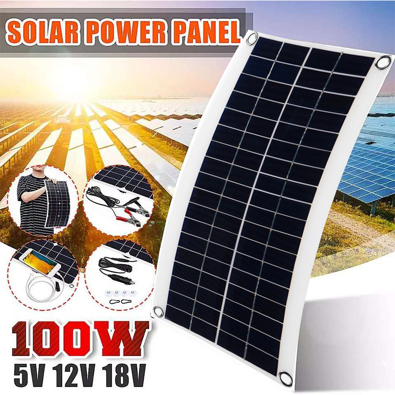 100W 18V Portable Solar Panel Double USB Power Bank Board External Battery Charging Solar Cell Board Crocodile Clips Car charger