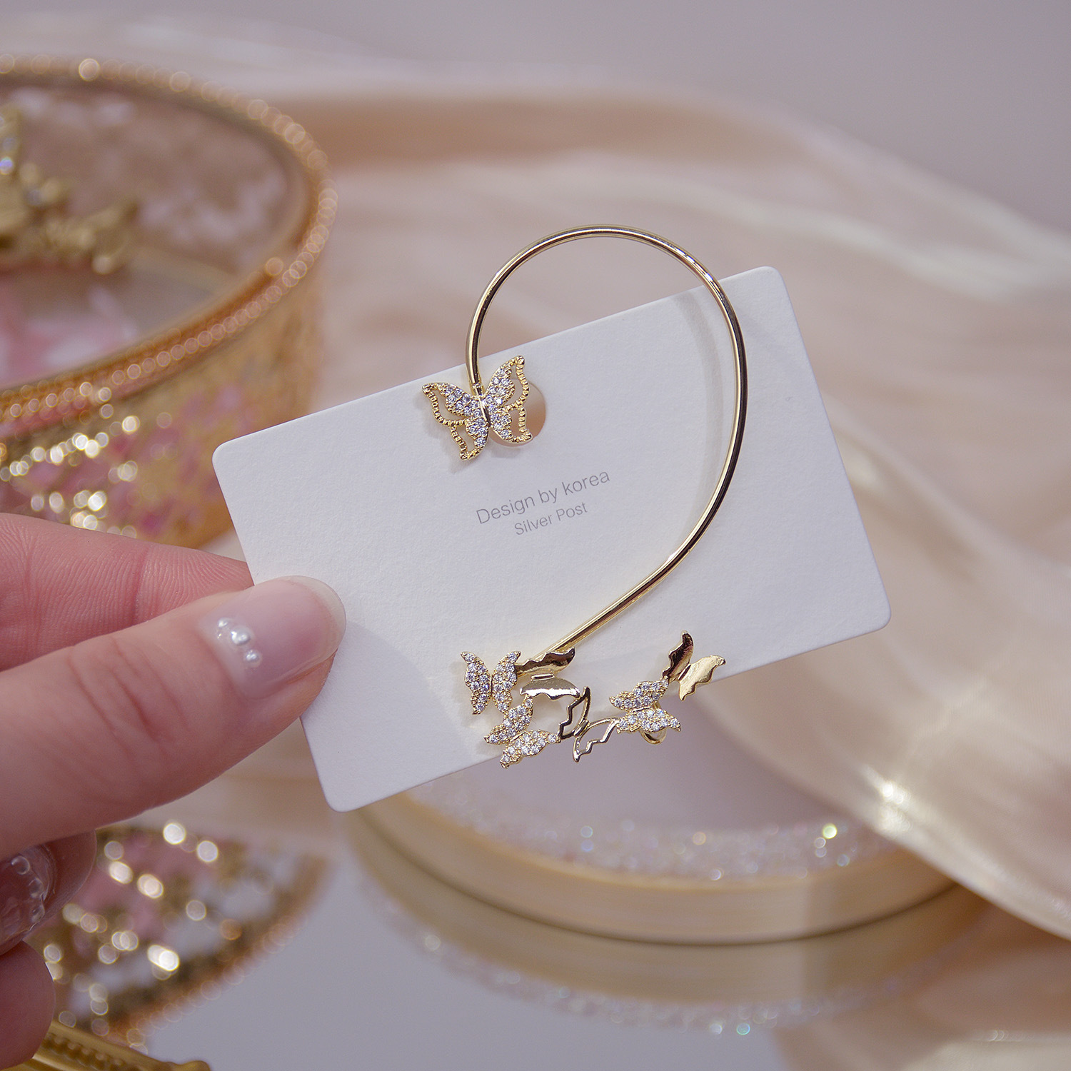 Korean new design fashion jewelry exquisite light luxury copper inlaid zircon exaggerated butterfly ear bone clip female earring