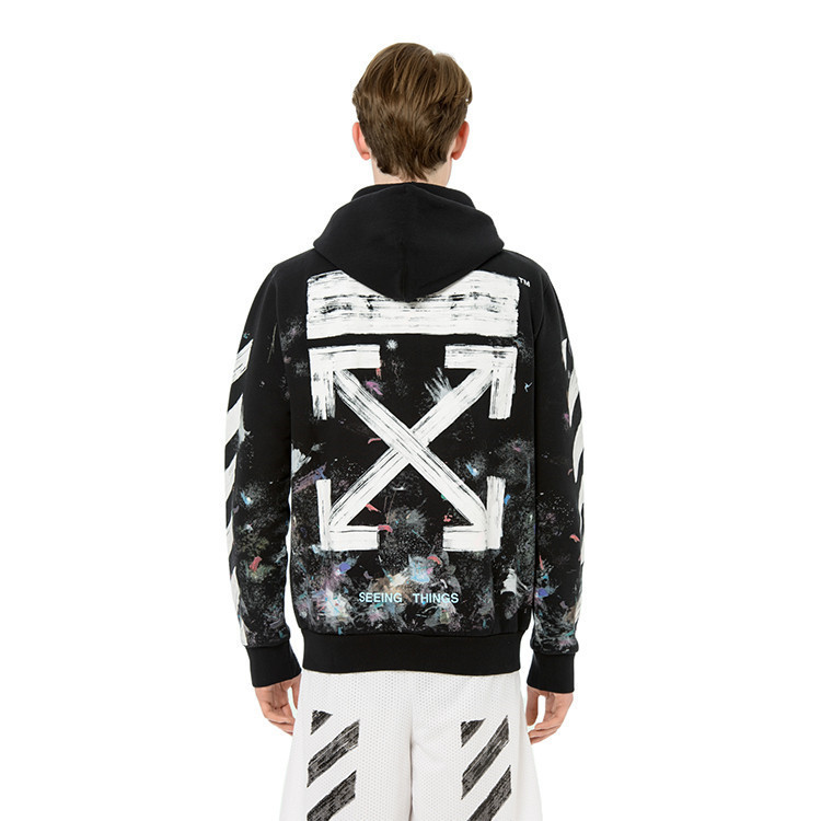 2019 New Style Europe And America Popular Brand Offwhite Fireworks Star Plus Velvet Hoodie Casual Tops