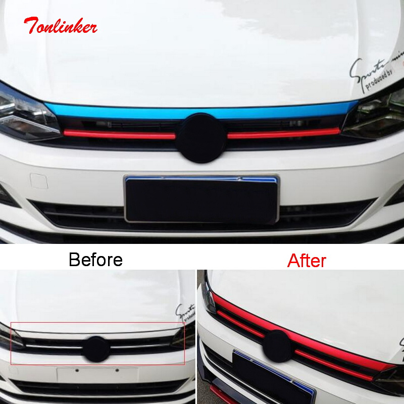 Tonlinker Exterior Red/Blue Mouldings Racing Grills Cover Sticker For Volkswagen POLO 2019 Car Styling 2 PCS PVC Cover Sticker