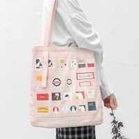 TANTO store original femmes sac en toile 2019 nouvelle mode grande capacité filles japonaises pur coton toile sac à provisions rose