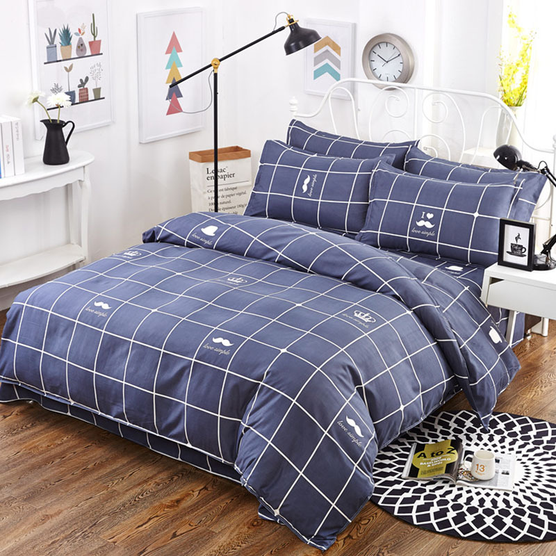 Simple Grid Design Bedding Multi-size Sheet Duvet Cover Pillowcase Single Piece Bedding Single Person Double Quilt Cover