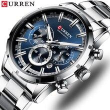 CURREN Top marka wojskowy kwarcowy zegarki srebrny zegar mężczyzna kwarcowy chronograf ze stali nierdzewnej zegarek dla mężczyzn Casual sportowy zegarek