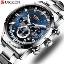 CURREN montre à Quartz militaire pour hommes, de marque supérieure, en argent, chronographe en acier inoxydable, accessoire sportif, décontracté