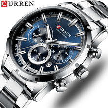 CURREN 탑 브랜드 밀리터리 쿼츠 시계 실버 시계 남성 쿼츠 스테인레스 스틸 크로노 그래프 남성용 시계 캐주얼 스포티 한 시계