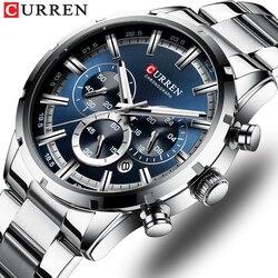 Top Marca CURREN Militar Relógios de Quartzo Relógio De Prata Dos Homens Quartzo Relógio de Aço Inoxidável Relógio Cronógrafo para Homens Casual Desportivo