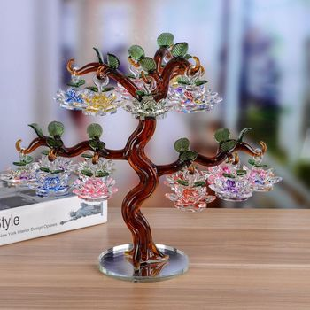 18pcs Crystal Chirstmas Lotus Tree Hanging Ornaments 60mm Flower Glass Miniature Figurine Home Decorations Crafts Gifts Souvenir