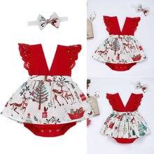US Christmas Baby Girl Infant Tutu Skirt Romper Jumpsuit Bod