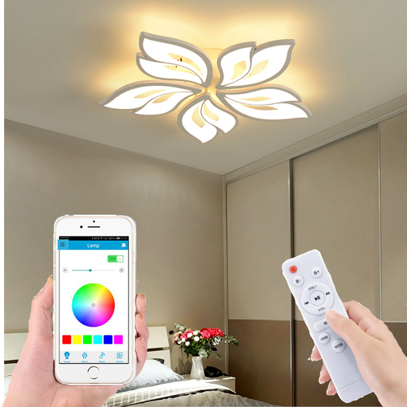 Factory Direct Lighting Modern Bedroom Remote Control Smart App Living Room Led Ceiling Lamp White Flower Acrylic Hotel Lights Mega Discount B8a94 Cicig