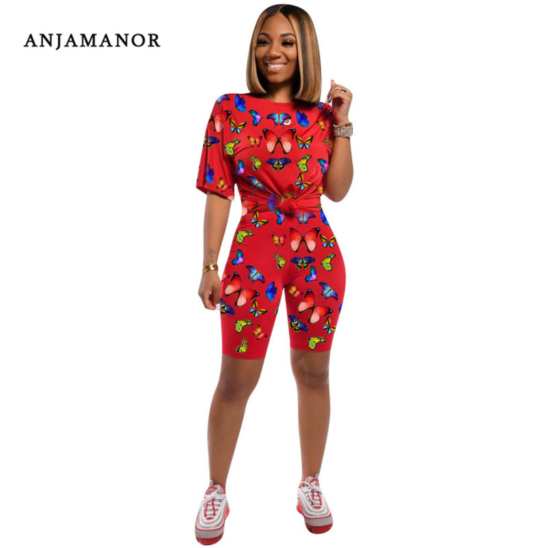 ANJAMANOR Butterfly Print Casual Biker Shorts Two Piece Set Women Clothes Plus Size Summer Outfits 2020 Matching Sets D41-AE54