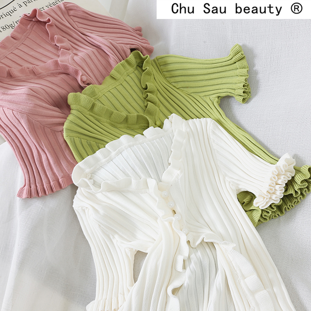 Chu Sau Beauty Autumn Sweet Chic 8 Colours Knitted Shirts Women Casual V-neck Single Breasted Good Elasticity Cardigan Tops