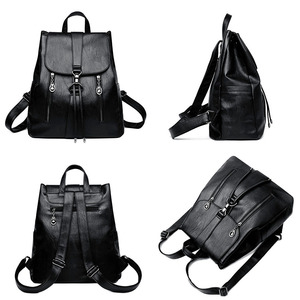 Image 3 - LANYI 2018 New Double zipper Backpack High Quality Leather School Bags For Teenager Girls Black Women Backpack Travel Bags