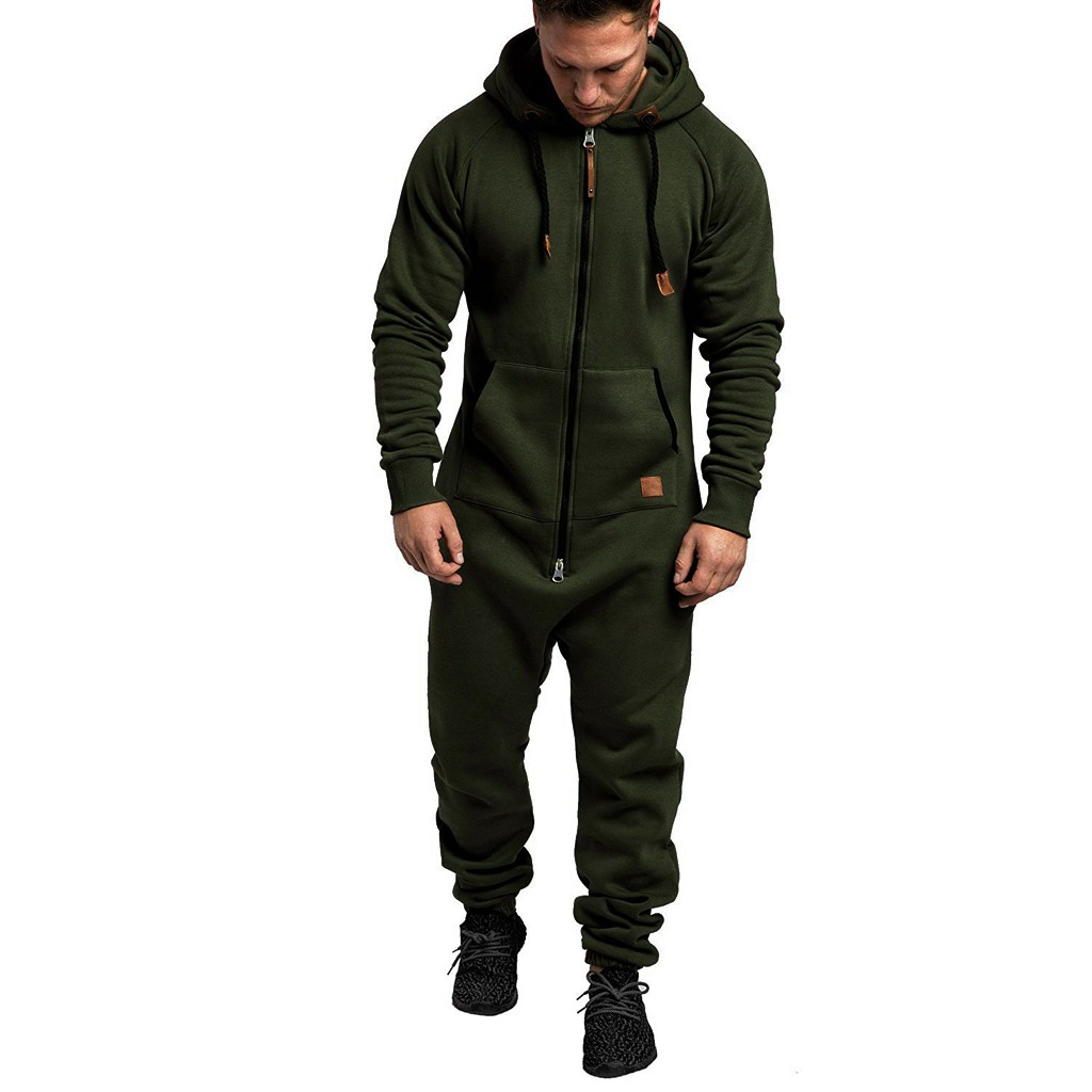 Jumpsuit Men Quality Pajamas Onesie Adults Winter Homebre Splicing Casual Hoodie Print Zipper Print Sleepwear Hooded Jumpsuits