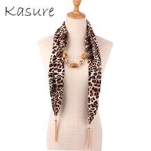 Kasure Leopard Печать Шифон Ожерелье Шарф Женщины Весна Лето Бусины Кулон Кисточкой Шарфы Женщины Neckchief
